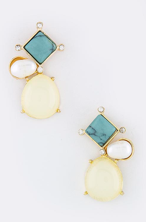 Cream & Turquoise Smolder Earrings - My Jewel Candy - 1