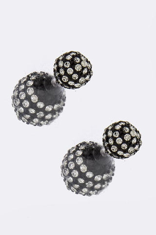 Black Crystal Orb Double Sided-Stud Earrings - My Jewel Candy
