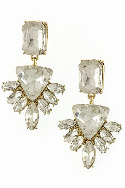 Ornate Crystal Drop Earrings