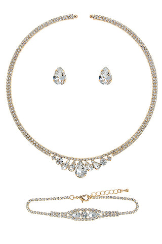 Rhinestone Encrusted Choker Necklace, Earrings and Bracelet Set
