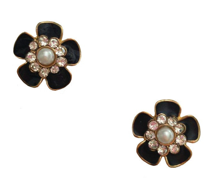 Crystal & Pearl Black Flower Earrings - My Jewel Candy