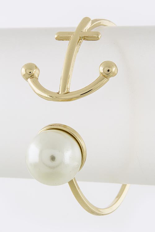 Delta Gamma Pearl Ball Anchor Tip Cuff - My Jewel Candy