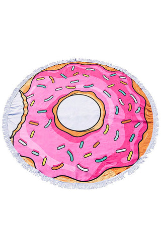 Donut Round Towel with Fringe
