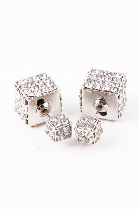 Double-Sided Cube Earrings (Silver) - My Jewel Candy - 1
