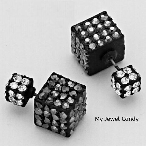 Double-Sided Cube Earrings (Hematite)