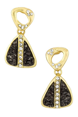 Gold & Black Druzy Triangle Present Earrings - My Jewel Candy