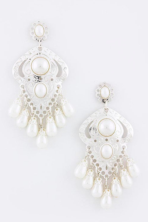 Silver Etched Dangle Pearl Earrings - My Jewel Candy