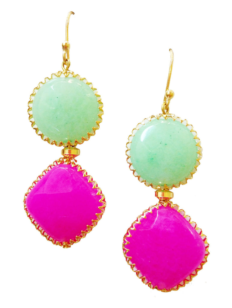 Electric Pink Melon Sorbet Earrings - My Jewel Candy - 1
