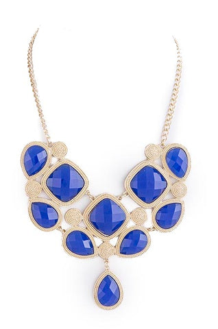 Gold-Lined Royal Blue Gem Necklace - My Jewel Candy
