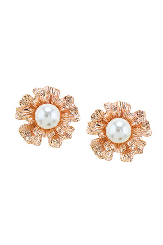 Flowering Rose-Gold Pearl Earrings