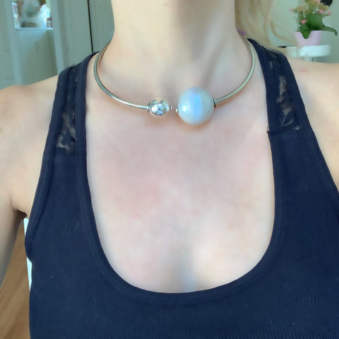 Open Collar Silver Necklace