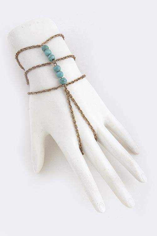 Triple Beaded Antique Gold & Turquoise Finger Bracelet - My Jewel Candy