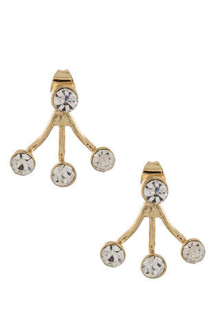 Triple Jeweled Double-Sided Ear Jackets (Gold) - My Jewel Candy