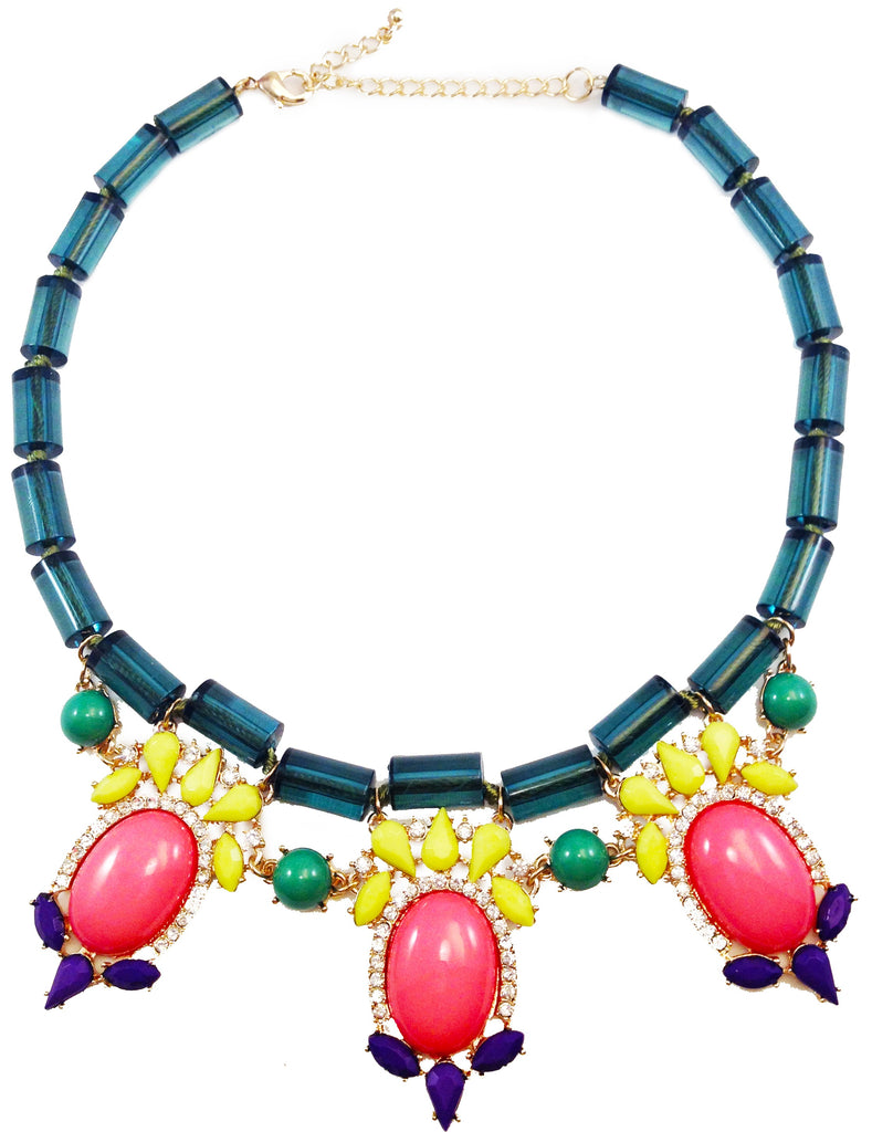 Jewel Fantasy Necklace - Green & Pink - My Jewel Candy - 1