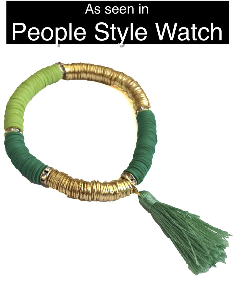 Tropical Tassel Bracelet - Shades of Green - My Jewel Candy - 1