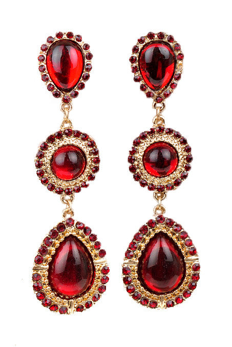 Ruby Red Gemstone Teardrop Earrings - My Jewel Candy