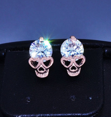 FREE 18 KARAT GOLD SKULL CRYSTAL EARRINGS - Just pay shipping & handling - My Jewel Candy - 1