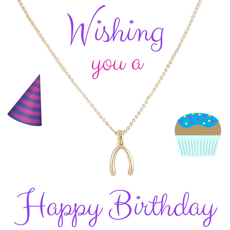 Happy Birthday Wish Bone Necklace - My Jewel Candy - 1