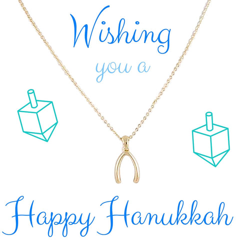 Happy Hanukkah Wish Bone Necklace - My Jewel Candy - 1