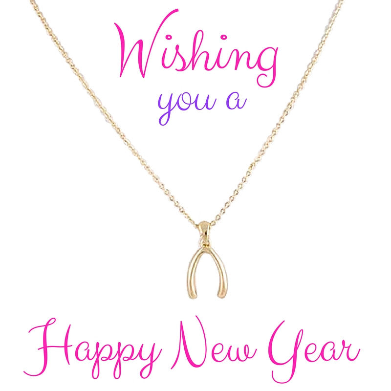 Happy New Year Wish Bone Necklace - My Jewel Candy