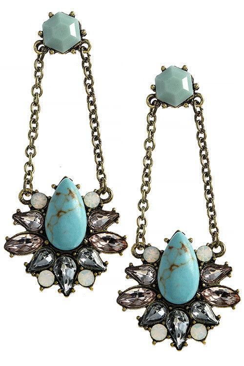 Faux Stone Teardrop Crystal Accent Earrings - My Jewel Candy - 1