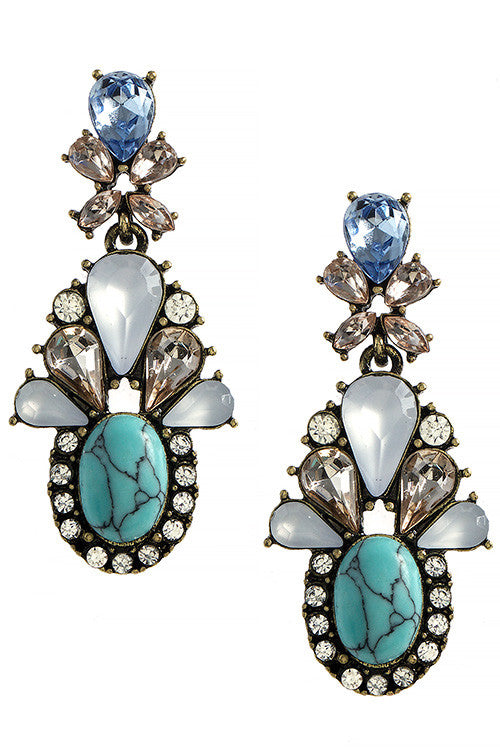 Faux Stone Jeweled Drop Earrings - My Jewel Candy - 1