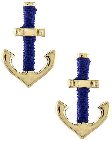 Blue & Gold Anchor Earrings - My Jewel Candy