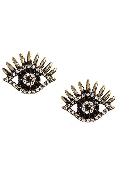 Crystal Encrusted Evil Eye Stud Earrings - My Jewel Candy - 1