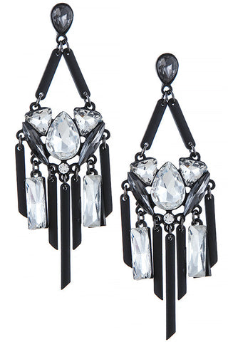 Faux Jeweled Bar Pendant Chandelier Earrings - My Jewel Candy - 1