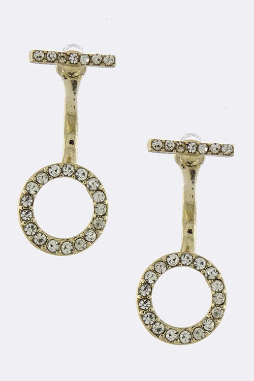 Pave Circle Double-Sided Ear Jackets - My Jewel Candy - 1
