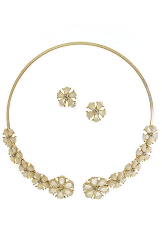 Floral & Crystal Choker (As seen in Life & Style)