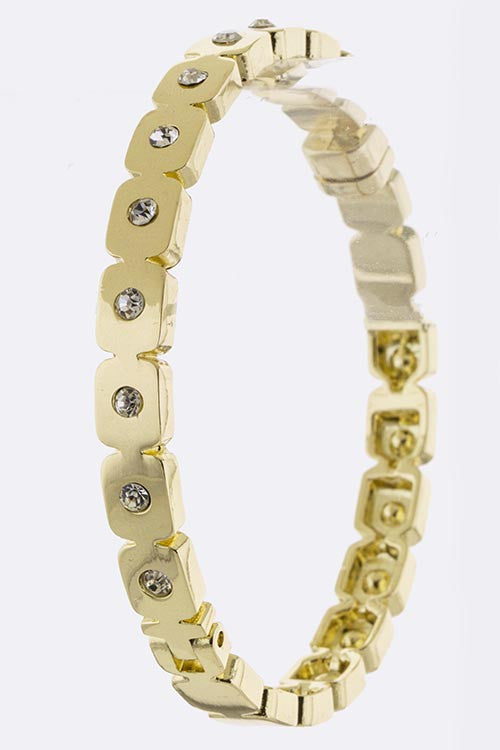 Crystal Encrusted Bangle (gold) - My Jewel Candy