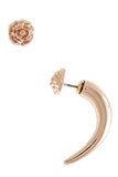 Killarney Rose x Rose-Gold Stud & Tusk Mismatched Earring Set - My Jewel Candy - 1