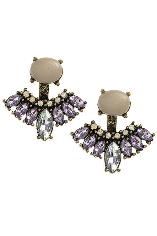 Faux Stone Mixed Gem Drop Earrings - My Jewel Candy - 1