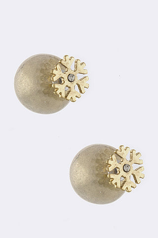 Snow Flake Double Sided Earrings - My Jewel Candy