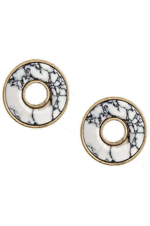 Faux Stone Cutout Ring Stud Earrings - My Jewel Candy - 1