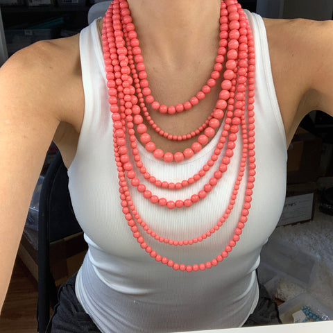 Coral Layered Bead Necklace