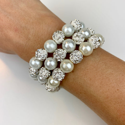 Pearl & Crystal Stretch Bracelet