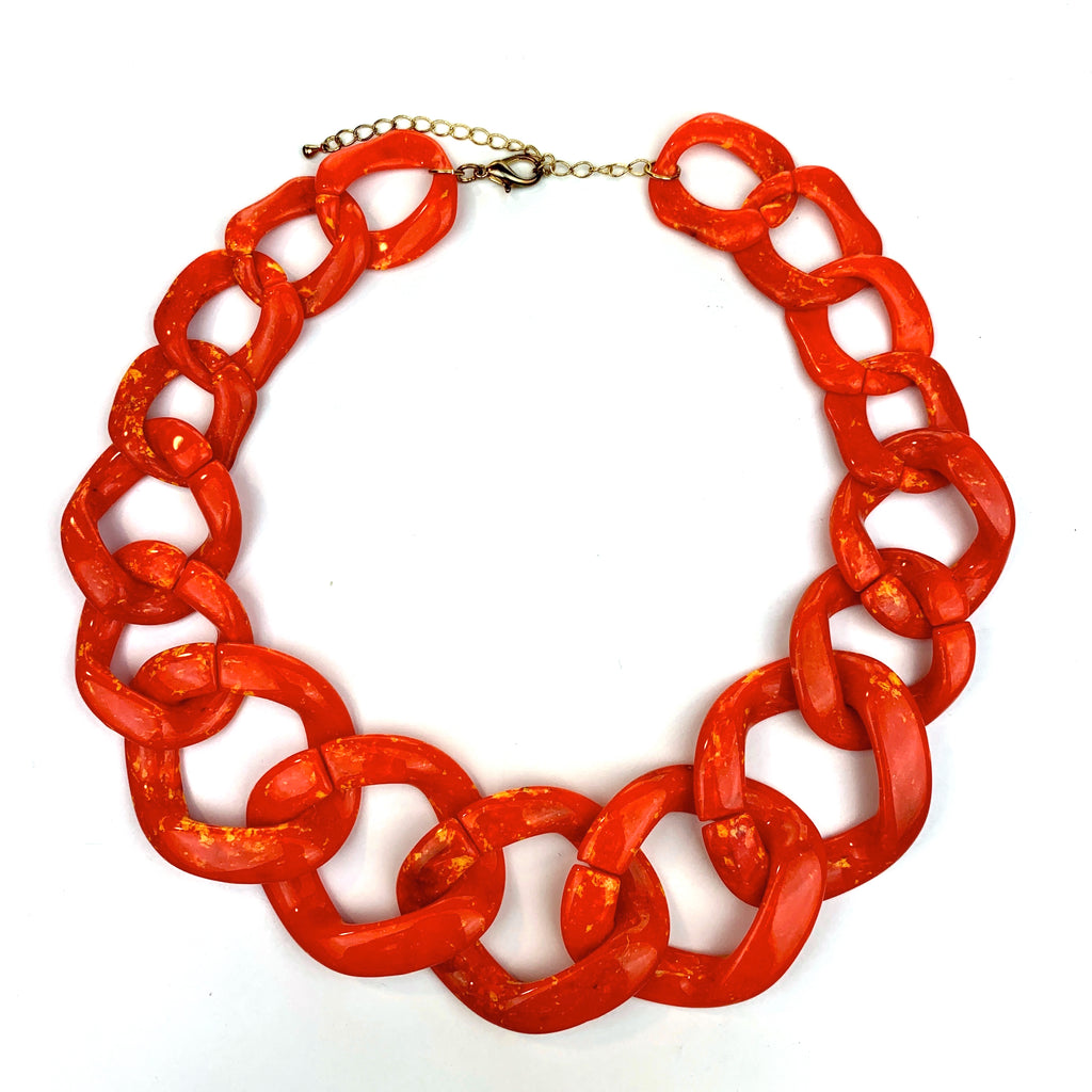 Linked-In Necklace (Smokey Coral)