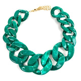 Linked-In Necklace (Smokey Emerald)
