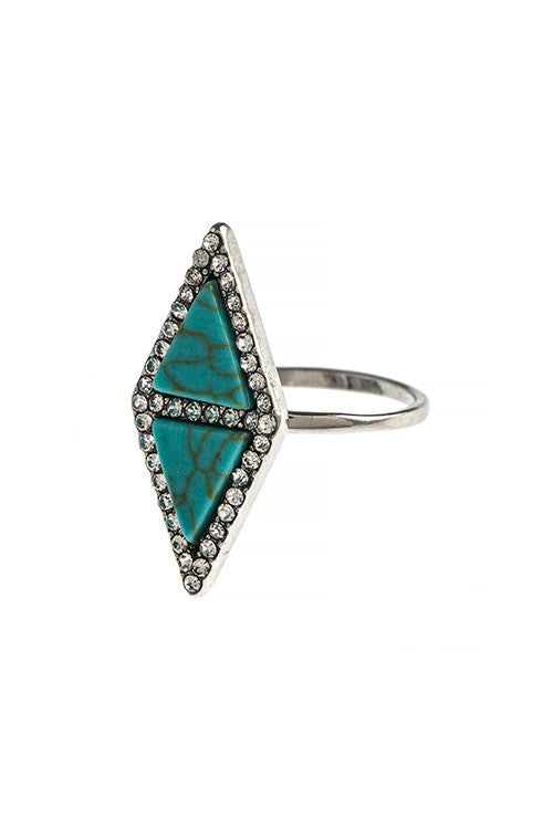 Double Faux Stone Triangle Crystal Ring - My Jewel Candy - 1
