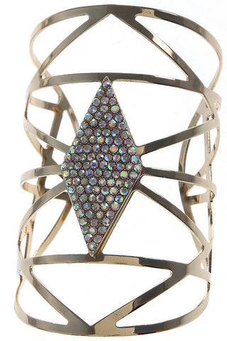 Crystal Encrusted Geometric Wide Cuff Bracelet - My Jewel Candy - 1