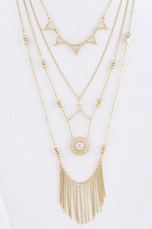 Layered Tassel & Charm Necklace - My Jewel Candy