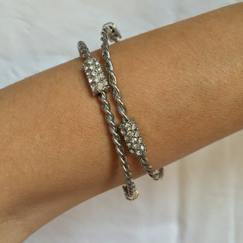 Twin Twist Silver bracelet with Crystals - My Jewel Candy