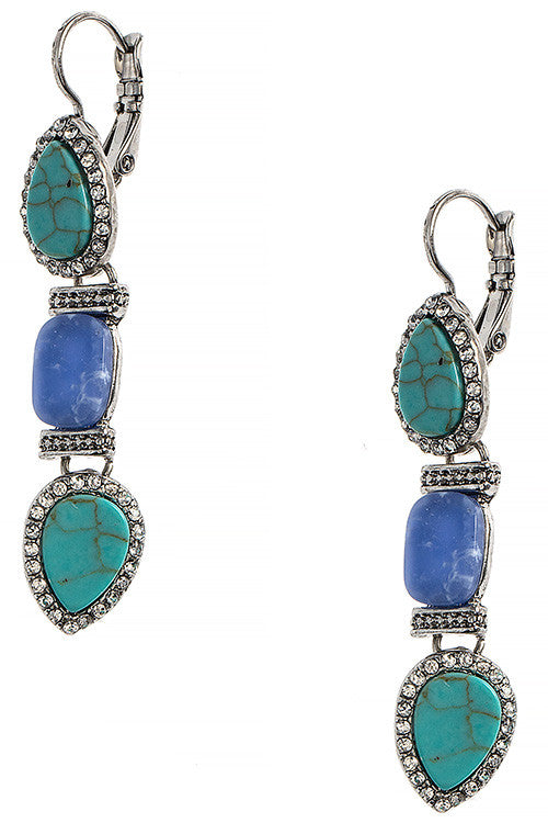 Tiered Faux Stone Crystal Accent Earrings - My Jewel Candy - 1