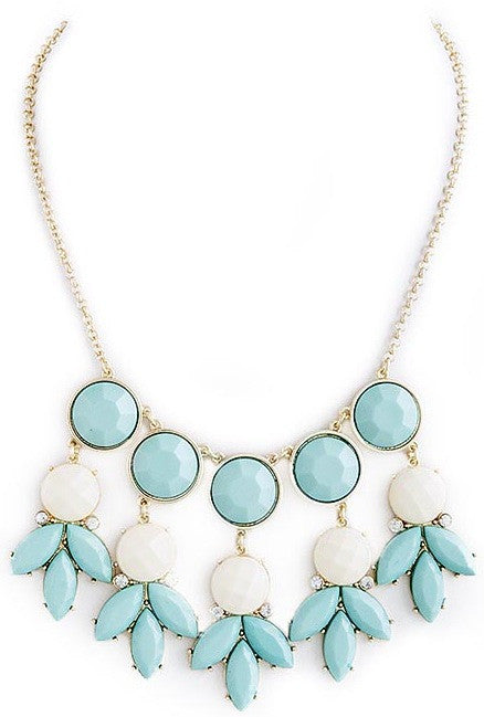 Blue and White Dangle Necklace - My Jewel Candy