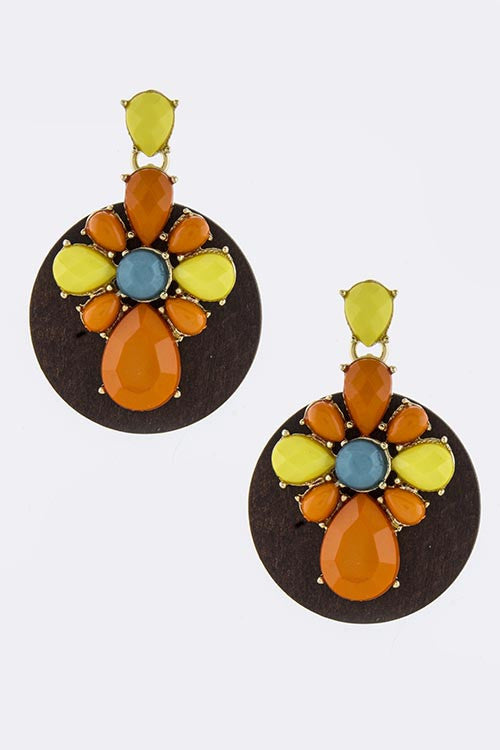 Acrylic Ornate with Wood Disk Drop Earrings - My Jewel Candy - 1