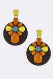 Acrylic Ornate with Wood Disk Drop Earrings - My Jewel Candy - 4