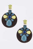 Acrylic Ornate with Wood Disk Drop Earrings - My Jewel Candy - 2