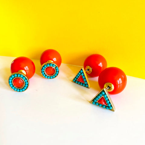 Orange & Turquoise Earrings Double Sided Earrings (As seen in Life & Style Magazine)